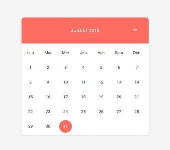 jQuery设计制作红色风格的日历表鼠标点击当前日期日历风格切换效果