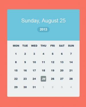 纯CSS3属性和HTML5标签设计制作红色背景的大气日历表