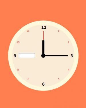 CSS3圆角属性样式和js时钟代码制作带红色背景的简单圆形时钟