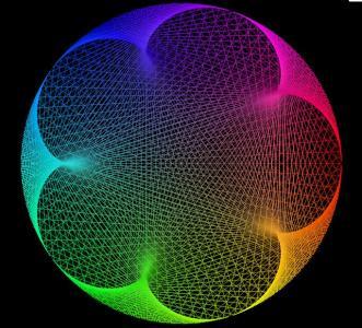 canvas网页画布代码绘制超级炫酷的3D网状色彩圆形随机切换动画效果