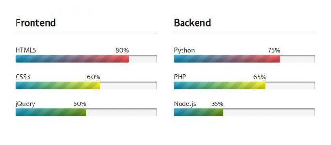 js网站特效大全代码和CSS3渐变背景样式设计制作带百分的项目进度条