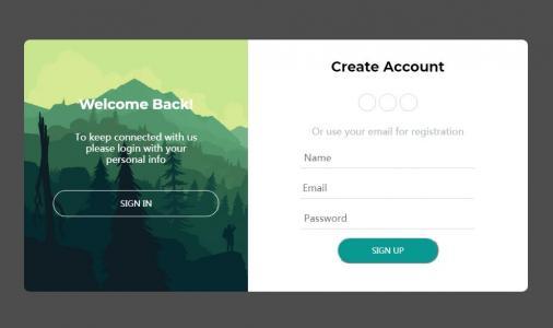 jQuery网站特效代码和HTML5布局制作大气用户注册登录表单样式静态页面