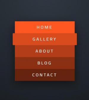 CSS3动画属性代码和HTML标签设计制作红色风格的垂直导航菜单列表鼠标滑过状态展示效果