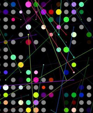 canvas网站特效画布代码绘制超级炫酷的色彩粒子圆闪烁切换动画效果