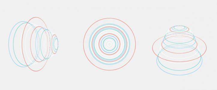 CSS3动画素材设计代码绘制3种不同视觉动画效果的3D圆圈环形图像特效代码