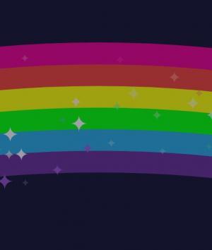CSS特效网站代码canvas画布绘制带星星闪烁动画效果的彩虹桥背景图像样式代码