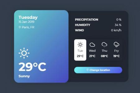 网页UI设计代码HTML与CSS设计制作安卓桌面天气预报页面样式效果