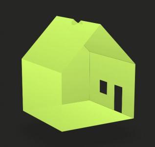 网站动画设计代码HTML5与CSS样式表绘制3D建筑小屋图像旋转动画效果
