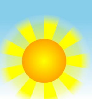 网站卡通图形图像设计代码CSS与HTML标签绘制带发光效果的卡通太阳图像样式代码