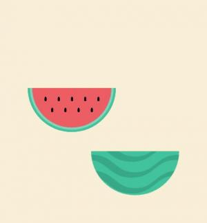 UI卡通图像设计代码CSS样式表绘制卡通西瓜被切动画效果