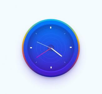 JavaScript网页时钟代码与CSS圆角属性样式设计制作3D立体圆形时钟样式效果