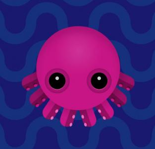 HTML5与CSS绘制3D可爱水母在水里游行动画效果