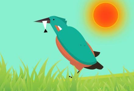 创意大气网站背景设计代码CSS3绘制卡通清晨鸟儿觅食场景背景图像效果