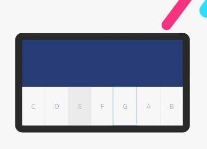CSS和HTML绘制带卡通背景图像样式效果的钢琴网站音乐素材设计与下载