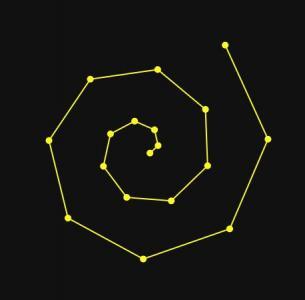 canvas网页特效代码绘制由线性节点旋转形成几何图形图像动画效果