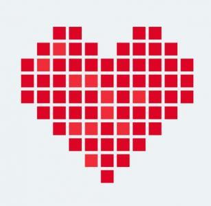 纯CSS3网页图形图像设计代码绘制卡通红色爱心图像闪烁动画效果