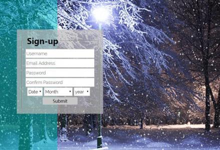HTML标签与CSS样式表选择器代码制作大气透明背景的个人博客网站用户登录框样式效果