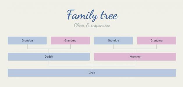 HTML标签和CSS样式表排版设计家庭谱关系结构图表样式效果