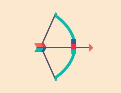 JavaScript网页素材特效代码绘制卡通弓箭图形图像发射动画效果