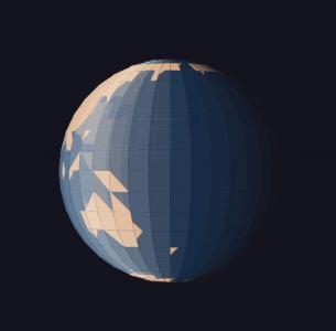 CSS3动画属性样式表与HTML标签绘制3D立体卡通地球图像旋转动画效果