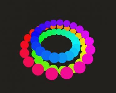纯CSS3网页动画设计代码绘制3D色彩粒子圆嵌套切换旋转动画效果