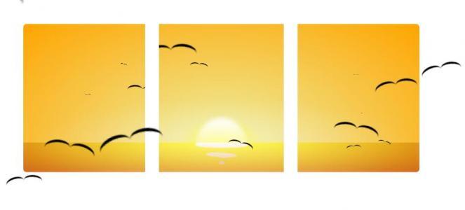 纯CSS3网页卡通动画设计代码绘制卡通日落大雁飞翔场景动画效果