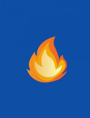 纯CSS3色彩属性样式代码绘制SVG火焰图标随网页背景色动态切换效果