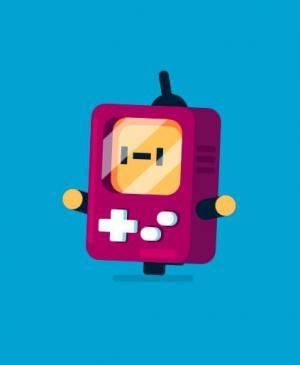 CSS3卡通设计属性和JavaScript绘制霸王游戏机小人奔跑动画效果