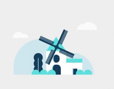 HTML动画背景图像设计代码纯CSS3样式表绘制大风车卡通网页背景旋转动画效果