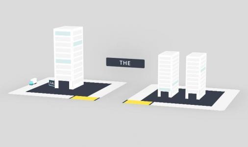 网页3D动画设计代码JavaScript和CSS绘制城市汽车环绕建筑物行驶场景动画效果