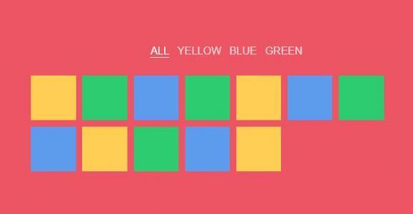 jQuery和CSS3实现通过鼠标点击按钮刷选相同彩色块正方形HTML网页图像动画制作代码