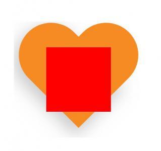 网站几何图形UI样式设计代码CSS3样式表制作爱心和正方形图形叠加效果