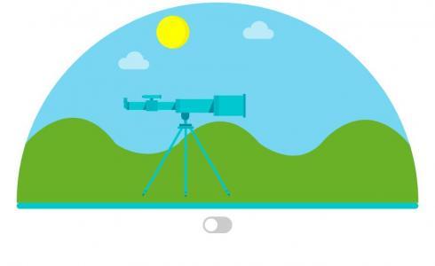 HTML和CSS设计制作半圆卡通自然景观图像鼠标点击CheckBox按钮实现图像昼夜切换效果