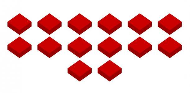 纯CSS3属性和HTML标签代码制作红色3D正方体块图像鼠标滑过正方体图形动态收缩展示效果