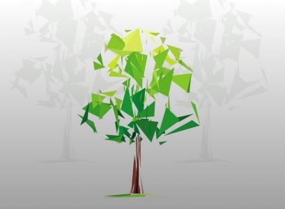 HTML网页3D卡通图像制作效果纯CSS3动画样式表绘制卡通3D立体绿树旋转动画代码