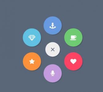 网站菜单设计大全jQuery和CSS绘制带icon图标大气圆形菜单鼠标点击展开收缩效果