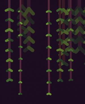 canvas画布特效代码和CSS卡通动画属性绘制垂柳鼠标滑过晃动动画效果