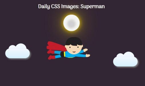 CSS3动画设计与制作HTML网页背景标签代码绘制飞人在天上飞行场景动画效果
