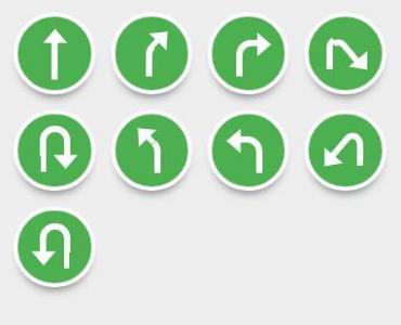 网页图标素材网站纯CSS3样式表绘制绿色背景圆形箭头小图标样式效果