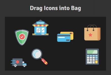 HTML标签和CSS选择器设计制作的简单icon小图标鼠标拖拽图标移动效果