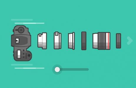 JS网页滑块设计代码和HTML标签绘制炫酷相机图像鼠标拖拽滑块箱子拆分组装效果