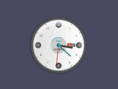 时钟设计制作代码HTML标签样式与jQuery特效设计带日期跟星期圆形时钟