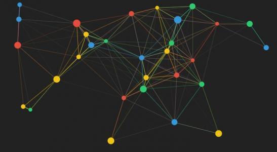 HTML5和网页特效canvas画布绘制色彩粒子动态背景节点结构图动画效果