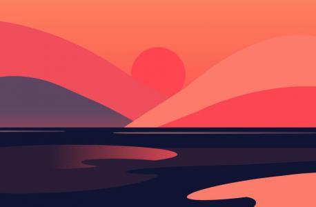 纯CSS3特效代码设计制作带有艺术创意的海上日出卡通图像