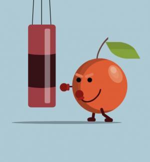 CSS3动画制作代码绘制卡通水果人练锤击动画效果HTML网页动画设计素材大全