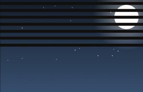 HTML网页卡通图像绘制代码纯CSS样式表制作夜间卡通图像