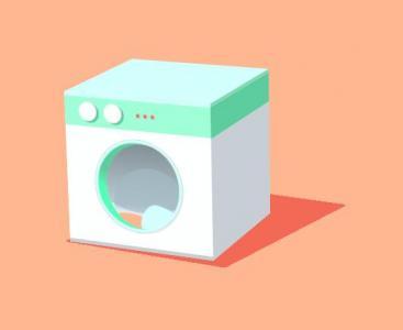 网页3D动画设计与制作HTML代码和CSS动画属性绘制卡通洗衣机图像动画效果