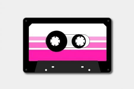 网站音乐素材动画设计代码CSS样式绘制录音机丝带播放动画效果