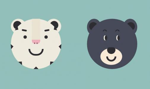 卡通头像素材设计与制作HTML样式表选择器代码绘制卡通动物头像