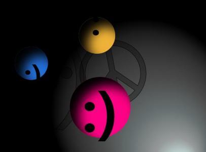 HTML网站动画属性CSS代码与JS图像绘制3D圆形笑脸彩色球体旋转动画效果